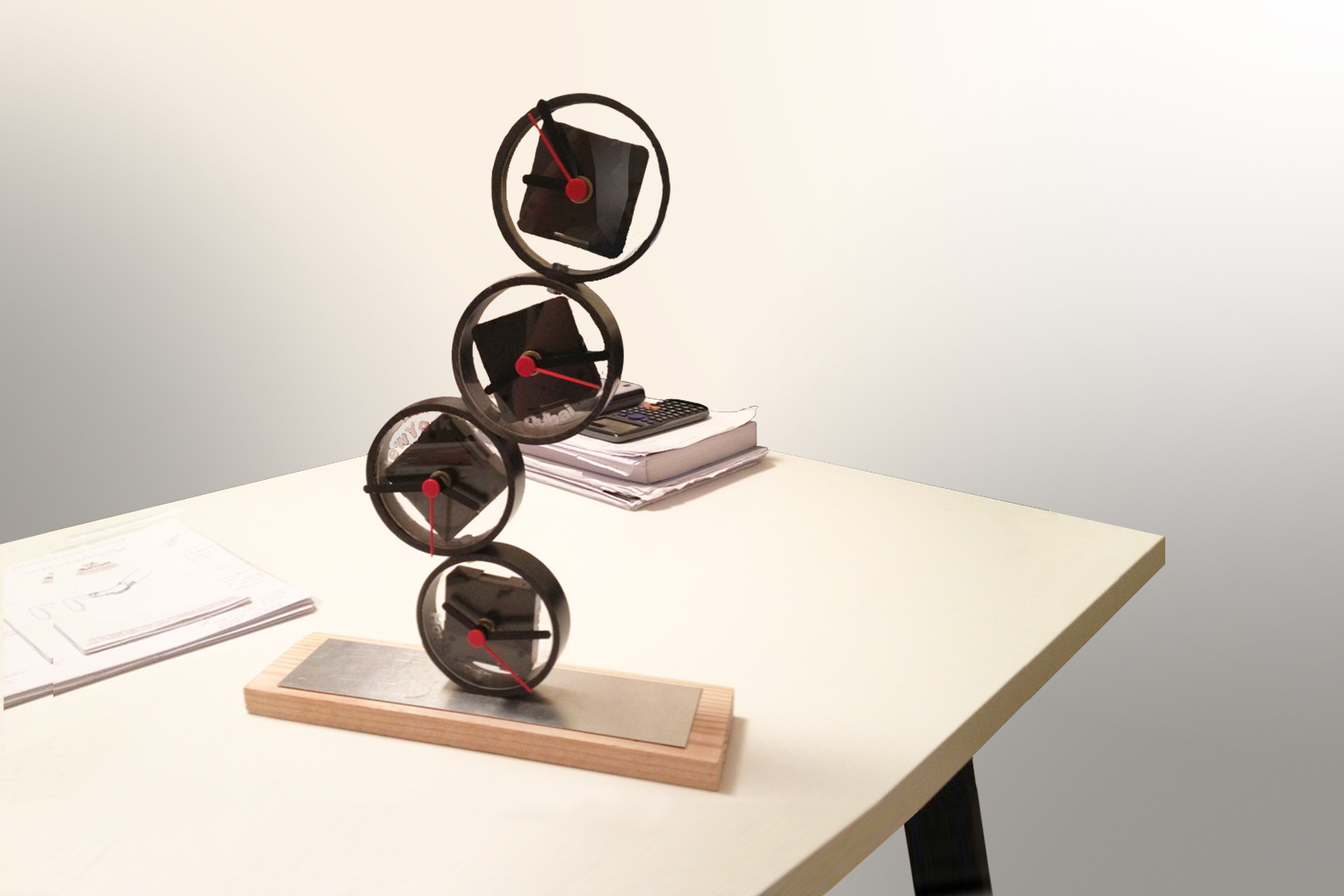 desk clock recycled